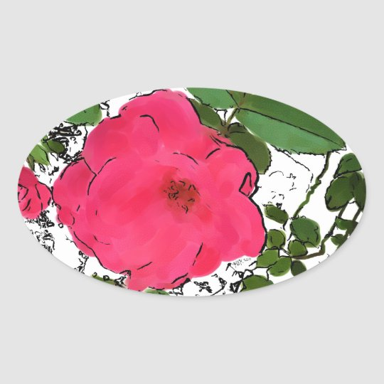 Red Roses Illustration Oval Sticker