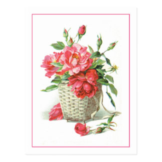 Red Roses in a Basket Postcard