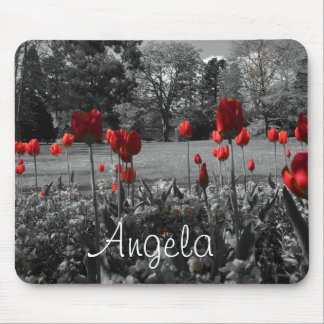 red roses in black and white garden photography mouse pad