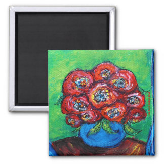 Red Roses in Blue Vase 2 Inch Square Magnet