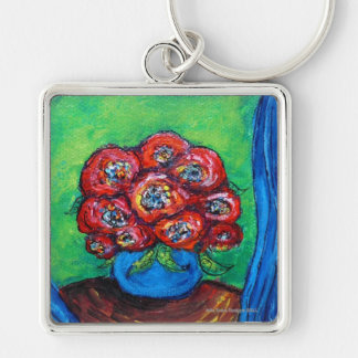 Red Roses in Blue Vase Key Chain