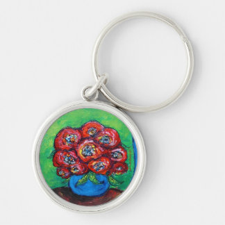 Red Roses in Blue Vase Key Chains