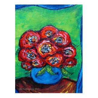 Red Roses in Blue Vase Postcard