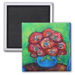 Red Roses in Blue Vase Refrigerator Magnets