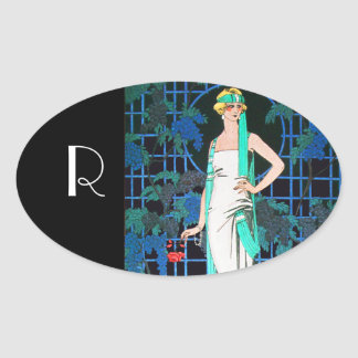 RED ROSES IN THE NIGHT,ART BEAUTY FASHION MONOGRAM OVAL STICKER