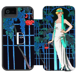 RED ROSES IN THE NIGHT,BEAUTY FASHION MONOGRAM INCIPIO WATSON™ iPhone 5 WALLET CASE