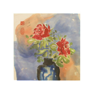 Red Roses in Vase Chinese Brush Painting Wood Wall Art