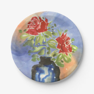 Red Roses in Vase Watercolor Painting Plates
