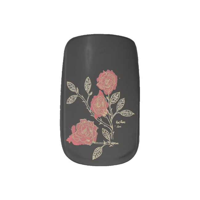 Red Roses Inkblot Floriogrpahy, Black Print Minx® Nail Art