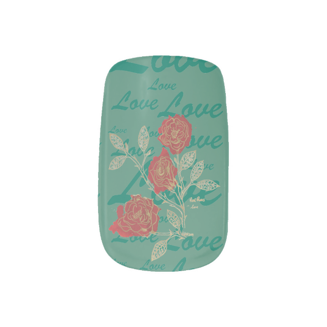 Red Roses Inkblot Floriogrpahy, Love Print Minx® Nail Wraps