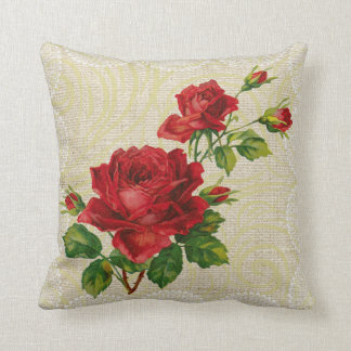 Red roses & lace floral vintage pillow