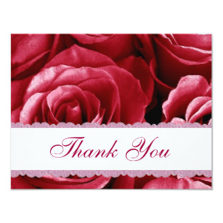 Red  Roses Lace Wedding Thank You Card V02