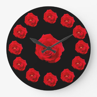 Red Roses Large Clock