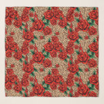 """red roses leopard print chiffon scarf<br><div class=""""desc"""">large sheer scarf with an allover pattern of tattoo inspired red roses and bold leopard print</div>"""