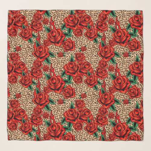 red roses leopard print chiffon scarf