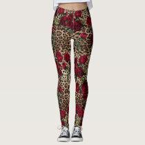 Red Roses Leopard print Leggings