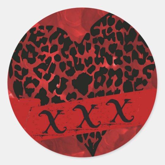 Red Roses & Leopard, Valentine's Love Sticker