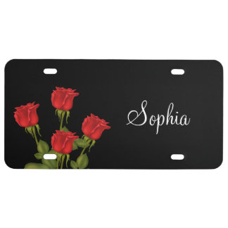 Red Roses License Plate