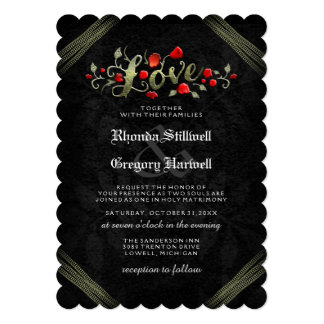 "Red Roses LOVE Halloween ""TOGETHER WITH"" Invite"
