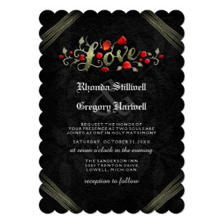 Red Roses LOVE Halloween Wedding Invite RECEPTION