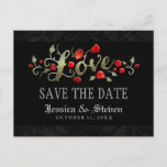 🎃  Red Roses LOVE Halloween Wedding Save the Date Announcement Postcard