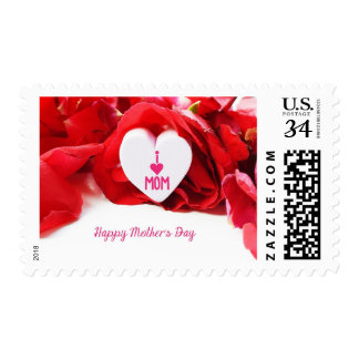 Red Roses Love Hearts Mother's Day Floral Stamp
