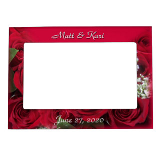 Red Roses Magnetic Frame, - personalize Magnetic Photo Frame