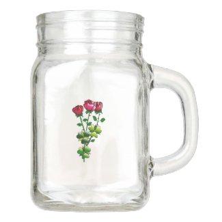 Red Roses Mason Jar