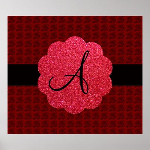 Red roses monogram print