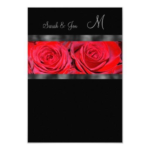 Red Roses Monogram Wedding Response 3.5x5 Paper Invitation Card