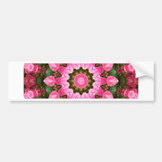 Red Roses Nature, Flower-Mandala Bumper Sticker