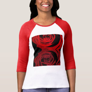 Red Roses Office Peace Flowers Blossoms Colorful T-Shirt