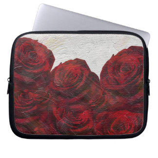 Red Roses Oil Textured Computer Sleeve