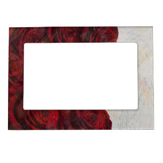 Red Roses Oil Textured Magnetic Photo Frame
