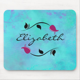 Red Roses on a Turquoise and Purple Abstract Mouse Pad