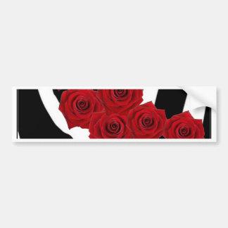 RED ROSES ON BLACK AND WHITE ZEBRA PRINT BUMPER STICKER