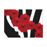 RED ROSES ON BLACK AND WHITE ZEBRA PRINT CANVAS PRINT