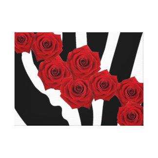 RED ROSES ON BLACK AND WHITE ZEBRA PRINT CANVAS PRINT