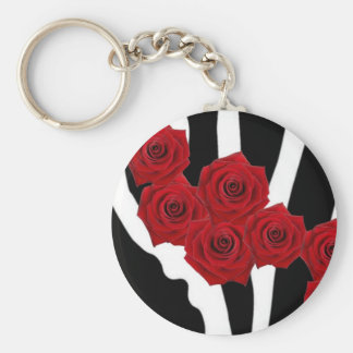RED ROSES ON BLACK AND WHITE ZEBRA PRINT KEYCHAIN