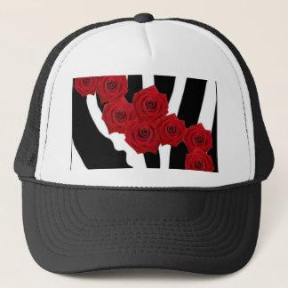 RED ROSES ON BLACK AND WHITE ZEBRA PRINT TRUCKER HAT