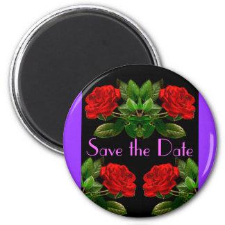 Red Roses on Black Velvet Abstract Design Magnet