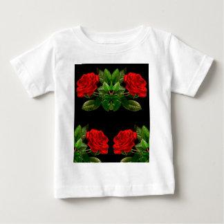 Red Roses on Black Velvet Floral Abstract Design Baby T-Shirt