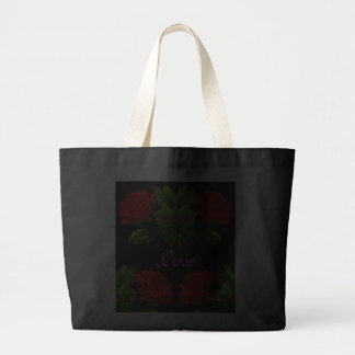 Red Roses on Black Velvet Floral Abstract Design Bags