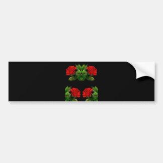 Red Roses on Black Velvet Floral Abstract Design Bumper Sticker