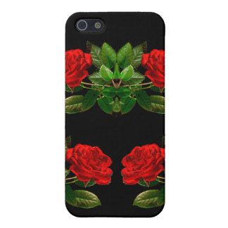 Red Roses on Black Velvet Floral Abstract Design Cover For iPhone SE/5/5s