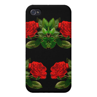 Red Roses on Black Velvet Floral Abstract Design iPhone 4/4S Cover