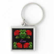 Red Roses on Black Velvet Floral Abstract Design Keychain