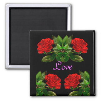 Red Roses on Black Velvet Floral Abstract Design Magnet
