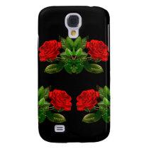 Red Roses on Black Velvet Floral Abstract Design Samsung S4 Case