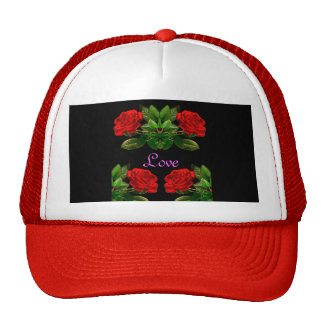 Red Roses on Black Velvet Floral Abstract Design Trucker Hat
